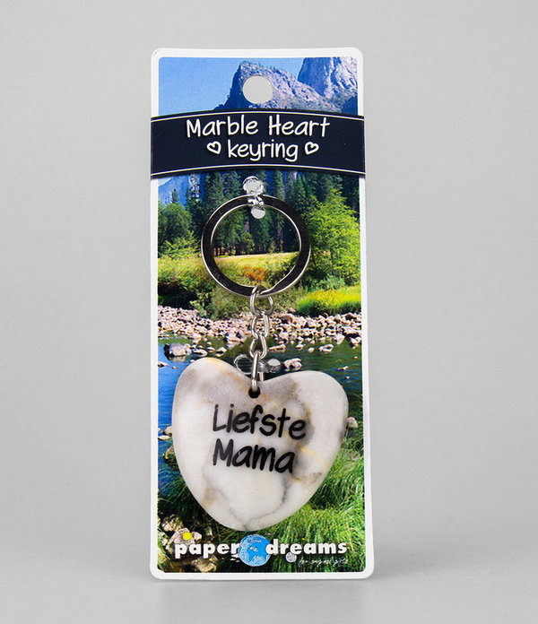 Marble Heart Keyring Liefste Mama