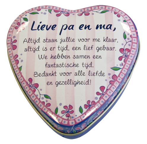 "Lovely tin ""lieve pa en ma"""
