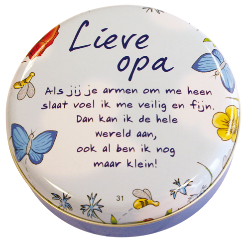 "Lovely tin ""lieve opa"""